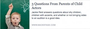 BS-3 Questions From Parents of Child Actors