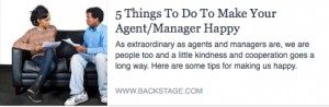 BS-5 Things to Do to Make Your Agent:Manager Happy